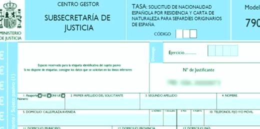 Ejemplo de Solicitud 790-026 para Nacionalidad por residencia